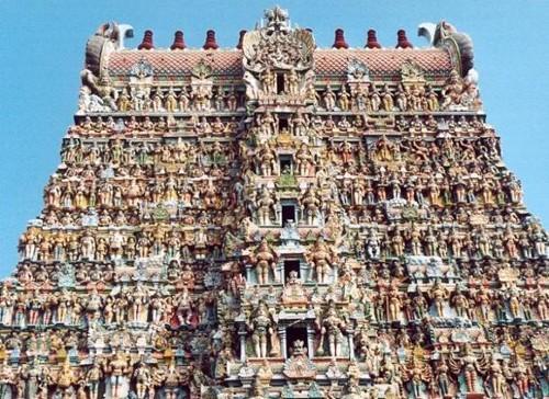 Detalle del templo Sri Meenakshi, en Madurai